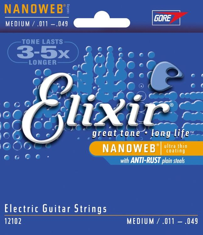 Elixir 12102 Medium 11-49 Nickel plated steel with nanoweb coating