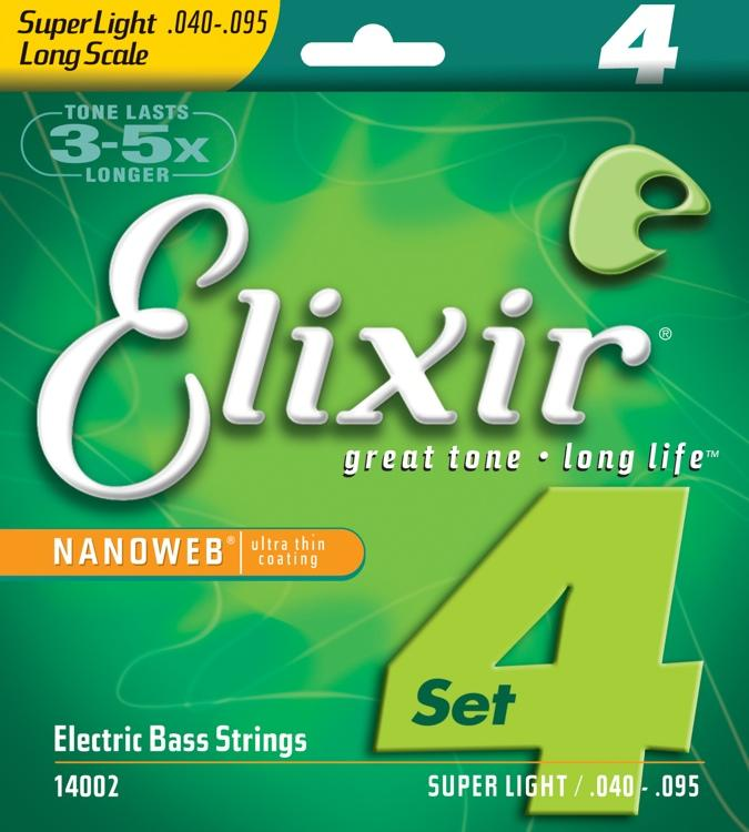 Elixir 14002 Super lights 4string 40-95 Nickel plated steel with nanoweb coating