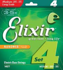 Elixir 14077 Lights/Medium  4string 45-105 Nickel plated steel with nanoweb coating